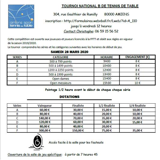 TOURNOI NATIONAL 2020 SERIES DOTATIONS